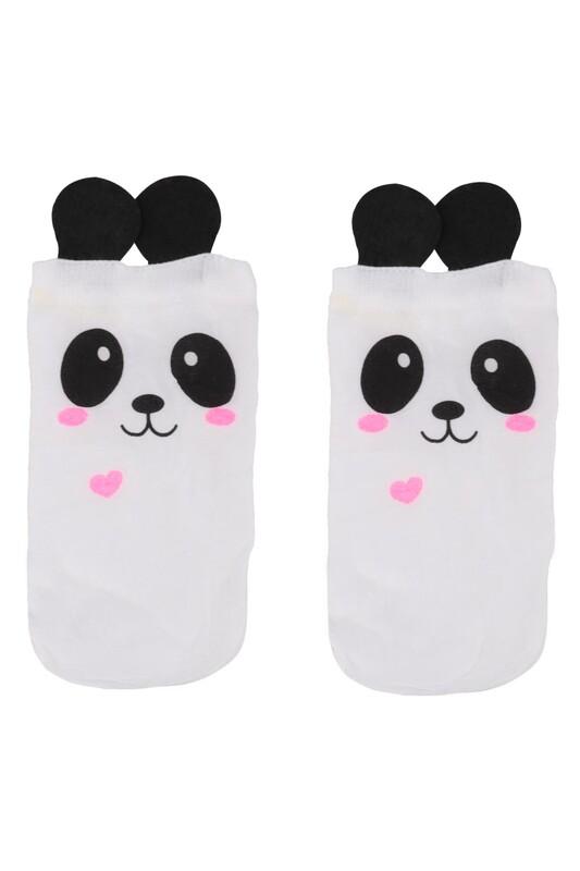 PENTİ - Penti Panda Baskılı Kız Çocuk Çorap 2838 | Beyaz