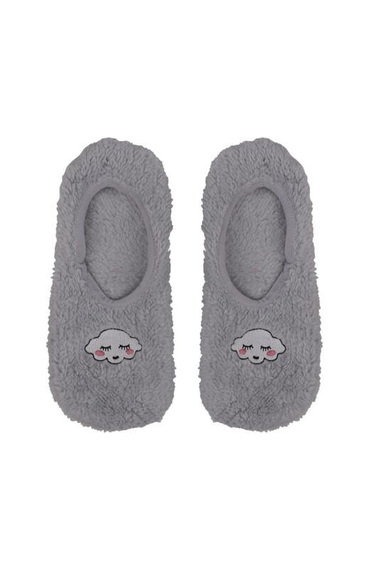 SAHAB - Bulut Nakışlı Welsoft Çocuk Patik Çorap 22666   Gri