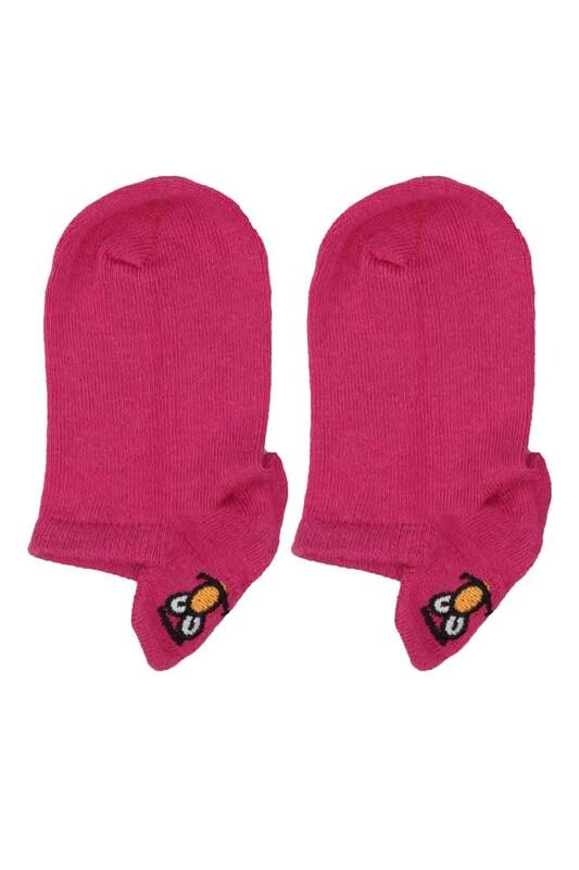 SAHAB - Emoji Nakışlı Dikişsiz Çocuk Patik Çorap | Mürdüm