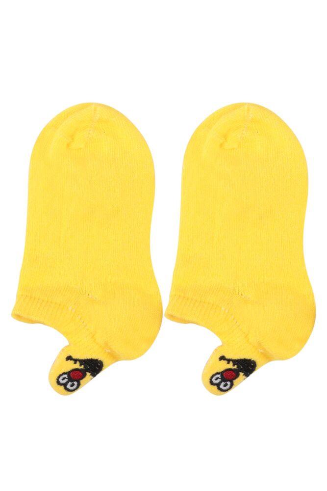 Emoji Nakışlı Dikişsiz Çocuk Patik Çorap | Sarı
