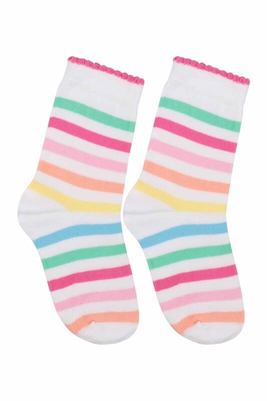 SİMİSSO - Desenli Çocuk Çorabı 924 | Beyaz