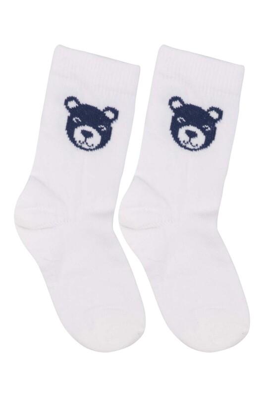 SİMİSSO - Desenli Çocuk Çorabı 931   Beyaz