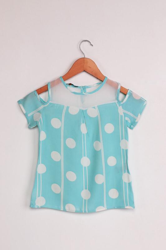 ALG - ALG Omzu Açık Puantiye Baskılı Kız Çocuk Elbise | Bebe Mavi