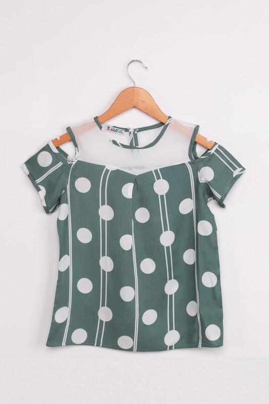 ALG - ALG Omzu Açık Puantiye Baskılı Kız Çocuk Elbise | Yeşil