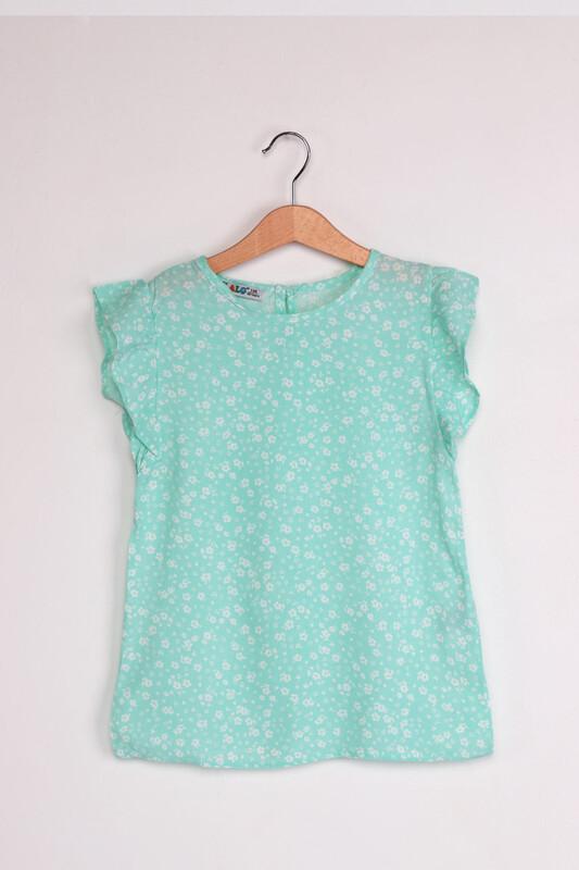 ALG - ALG Kolları Fırfır Çiçek Baskılı Kız Çocuk Elbise | Su Yeşili