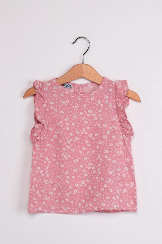 ALG - ALG Kolları Fırfır Çiçek Baskılı Kız Çocuk Elbise | Pudra