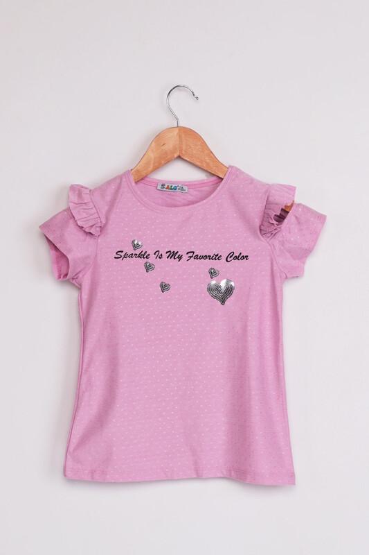 ALG - ALG Kolları Fırfır Kalp Baskılı Kız Çocuk Elbise | Lila