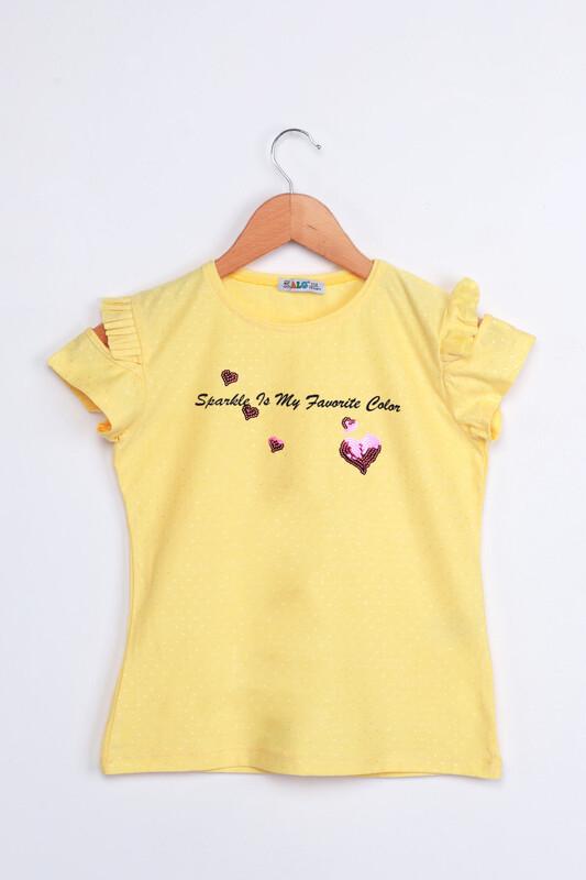 ALG - ALG Kolları Fırfır Kalp Baskılı Kız Çocuk Elbise | Sarı