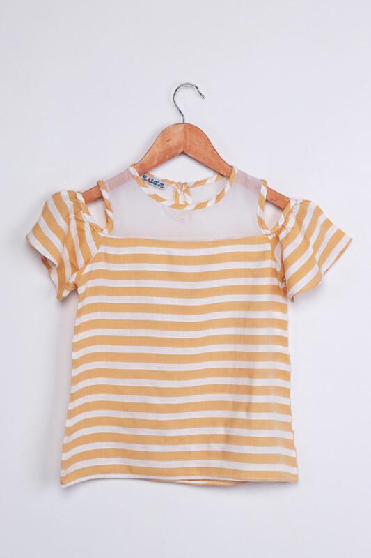 ALG - ALG Omzu Açık Çizgili Kız Çocuk Elbise | Sarı