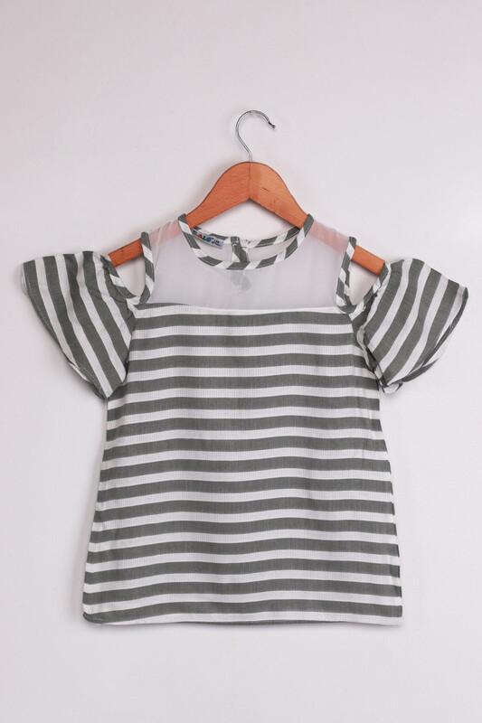 ALG - ALG Omzu Açık Çizgili Kız Çocuk Elbise | Haki