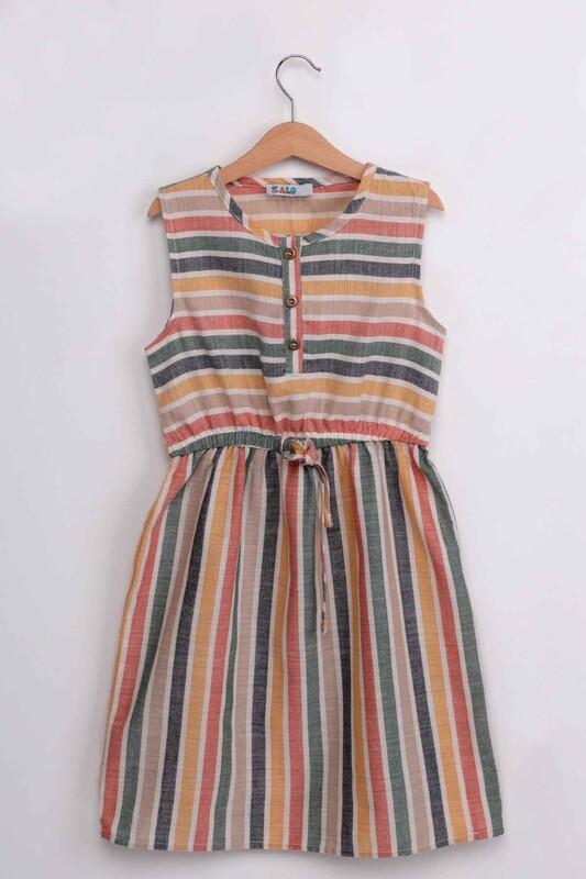ALG - Kız Çocuk Sıfır Kollu Keten Elbise | Çok Renkli