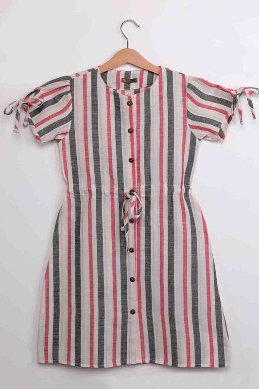 ALG - Kız Çocuk Sıfır Kollu Keten Elbise 21488 | Gri