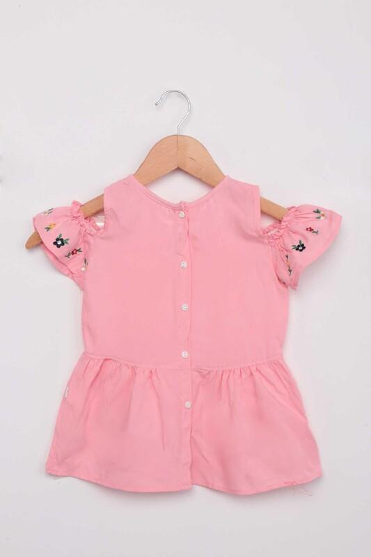 Damla - Nakışlı Kız Çocuk Elbise | Pembe