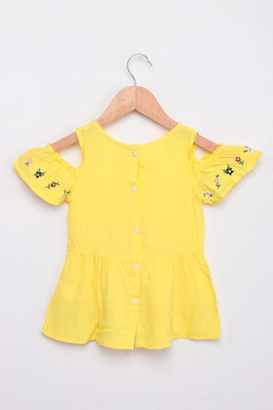 Damla - Nakışlı Kız Çocuk Elbise | Sarı