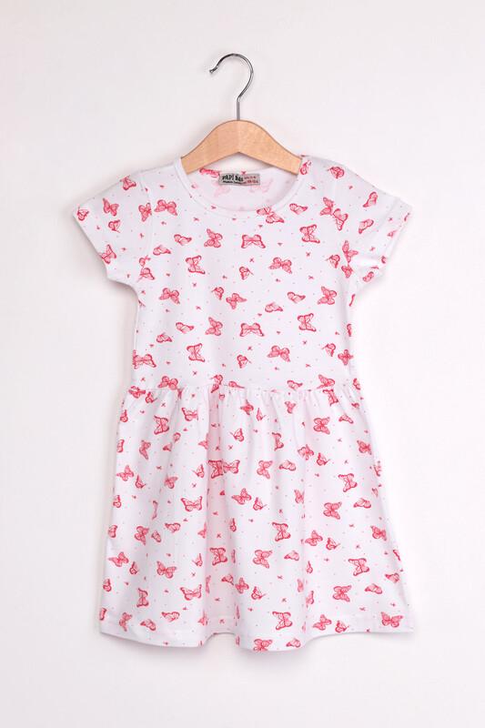 PAPİ KİDS - Kelebek Baskılı Kız Çocuk Elbise | Beyaz