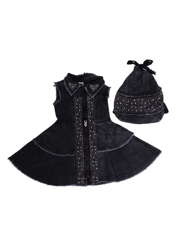 SİMİSSO - Simisso Çantalı Kot Elbise 416 | Siyah