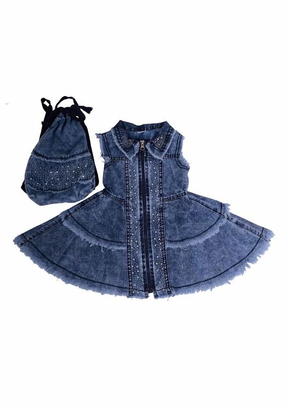 SİMİSSO - Simisso Çantalı Kot Elbise 416 | Mavi