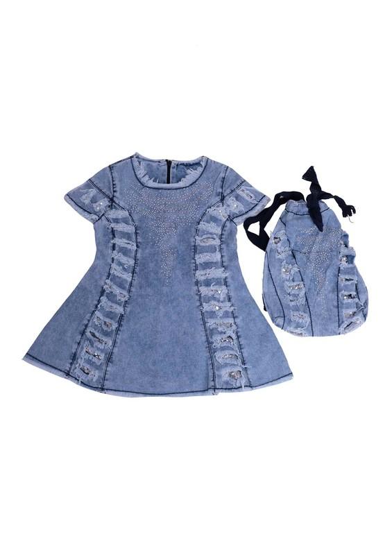 SİMİSSO - Simisso Çantalı Elbise 413 | Mavi