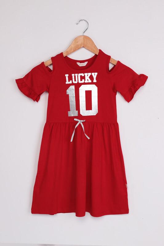 SİMİSSO - Omzu Açık Lucky Baskılı Kız Çocuk Elbisesi | Kırmızı