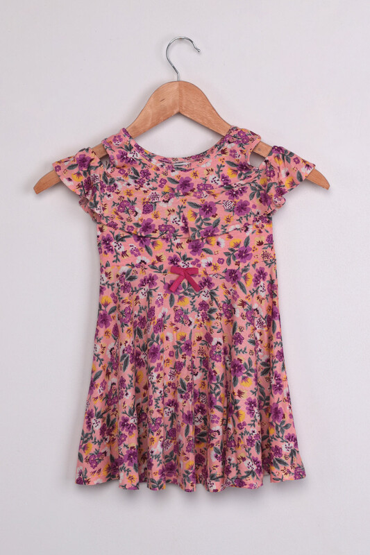 SİMİSSO - Omzu Açık Çiçek Baskılı Kız Çocuk Elbisesi | Pembe