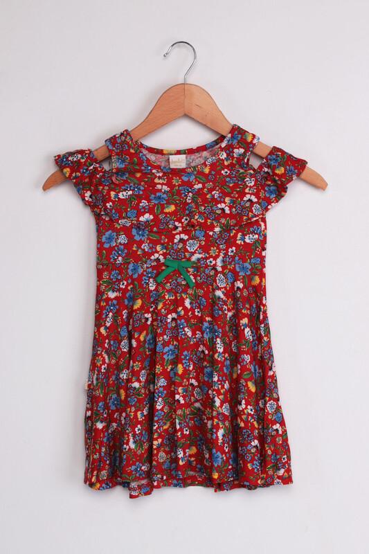 SİMİSSO - Omzu Açık Çiçek Baskılı Kız Çocuk Elbisesi | Kırmızı