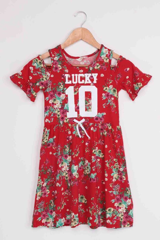SİMİSSO - Lucky Baskılı Kız Çocuk Elbise | Kırmızı