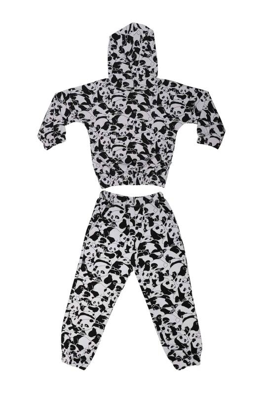 Damla - Panda Desenli Kız Çocuk Eşofman Takım 20652 | Siyah