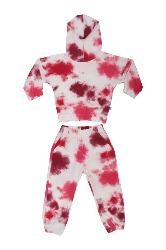 Damla - Desenli Kız Çocuk Eşofman Takım 20655   Kırmızı