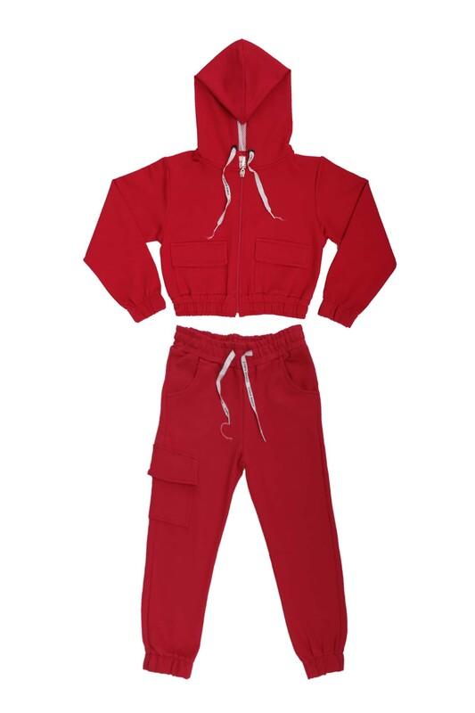 SİMİSSO - Kargo Cepli Kız Çocuk Eşofman Takım 13314   Kırmızı