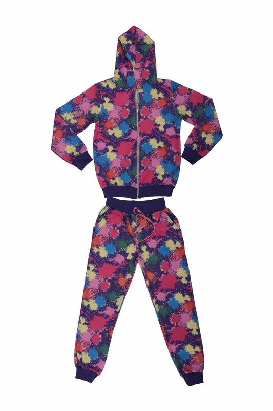 SİMİSSO - Batik Desenli Kız Çocuk 3'lü Eşofman Takımı | Karışık Renk