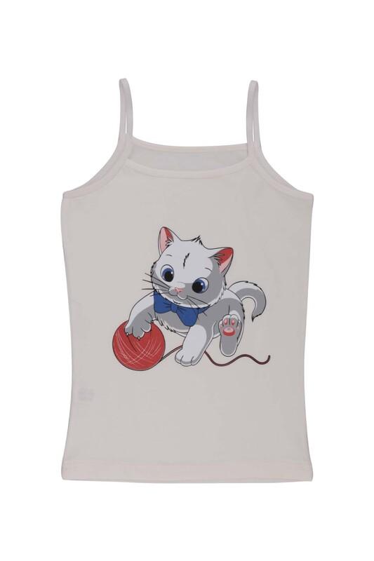 KOTA - İp Askılı Kedi Baskılı Kız Çocuk Atlet 3048 | Krem