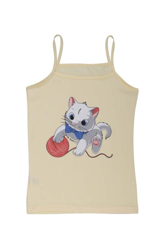 KOTA - İp Askılı Kedi Baskılı Kız Çocuk Atlet 3048 | Sarı