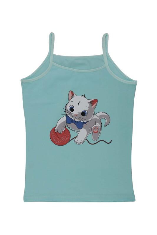 KOTA - İp Askılı Kedi Baskılı Kız Çocuk Atlet 3048 | Turkuaz
