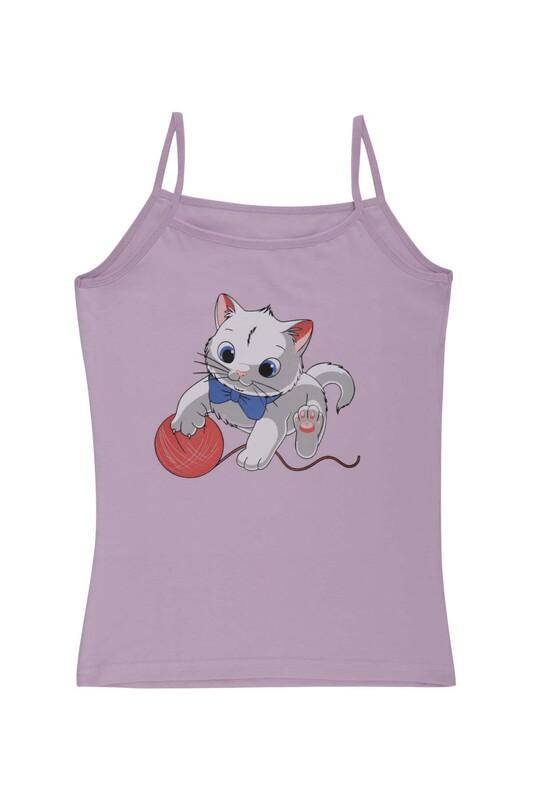 KOTA - İp Askılı Kedi Baskılı Kız Çocuk Atlet 3048 | Lila