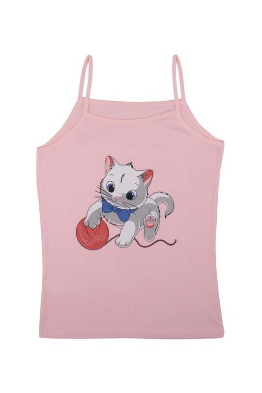 KOTA - İp Askılı Kedi Baskılı Kız Çocuk Atlet 3048 | Pembe