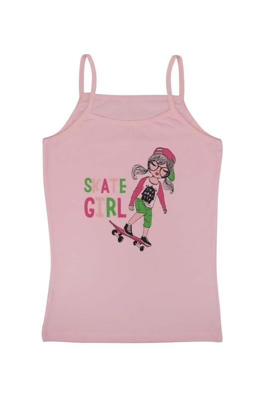 KOTA - İp Askılı Kaykay Baskılı Kız Çocuk Atlet 3048 | Pembe