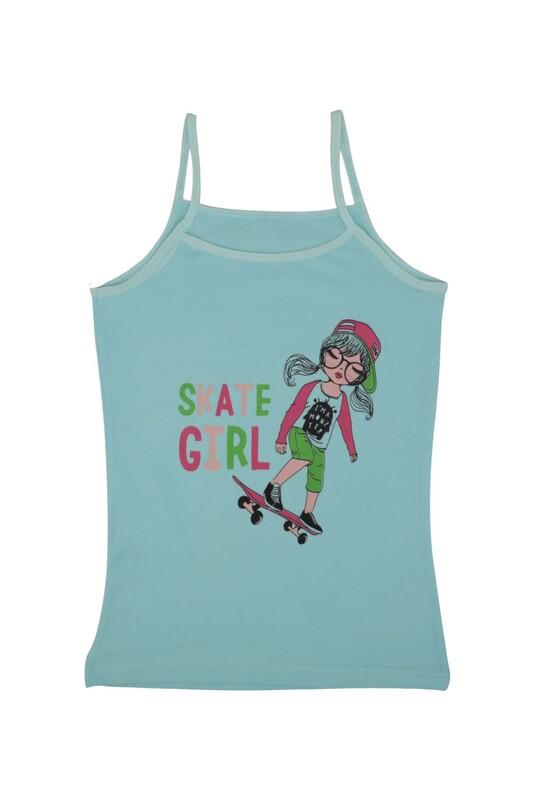 KOTA - İp Askılı Kaykay Baskılı Kız Çocuk Atlet 3048 | Turkuaz