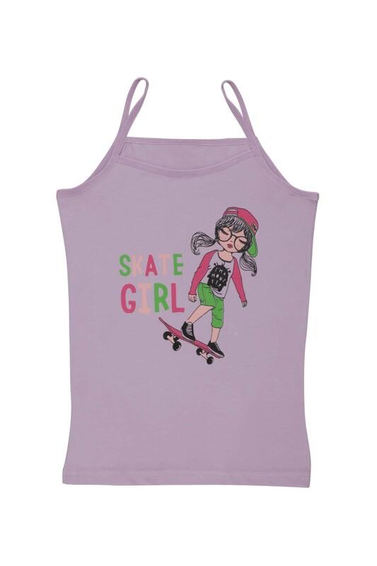 KOTA - İp Askılı Kaykay Baskılı Kız Çocuk Atlet 3048 | Lila