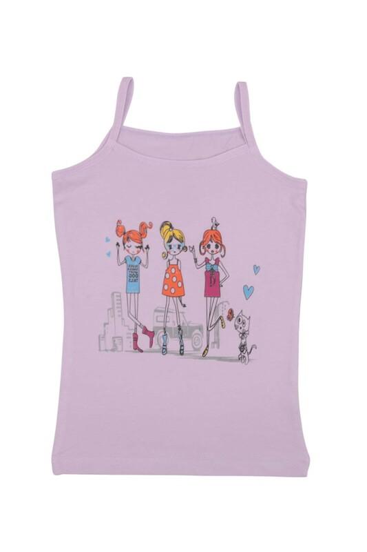 KOTA - İp Askılı Baskılı Kız Çocuk Atlet 3048 | Lila