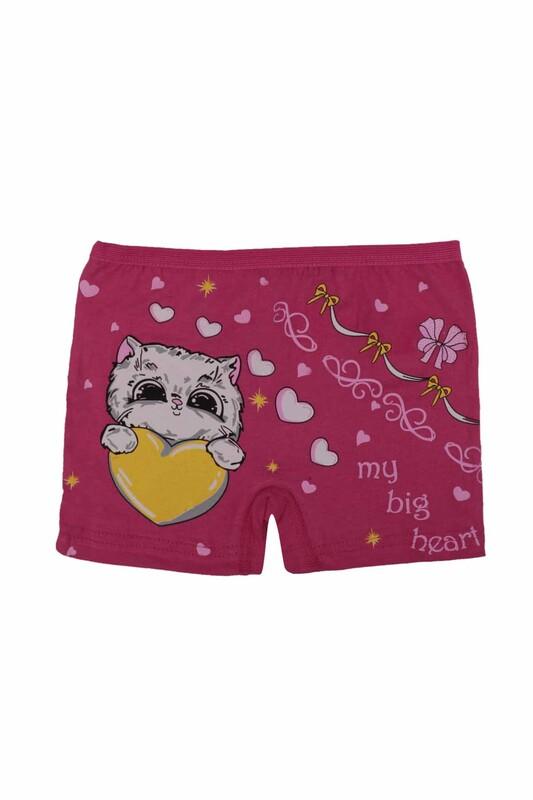Ören Yıldız - Kedi Baskılı Likraklı Kız Çocuk Boxer 5023 | Fuşya