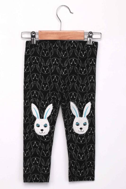 ALG - Tavşan Nakışlı Kız Çocuk Tayt | Siyah