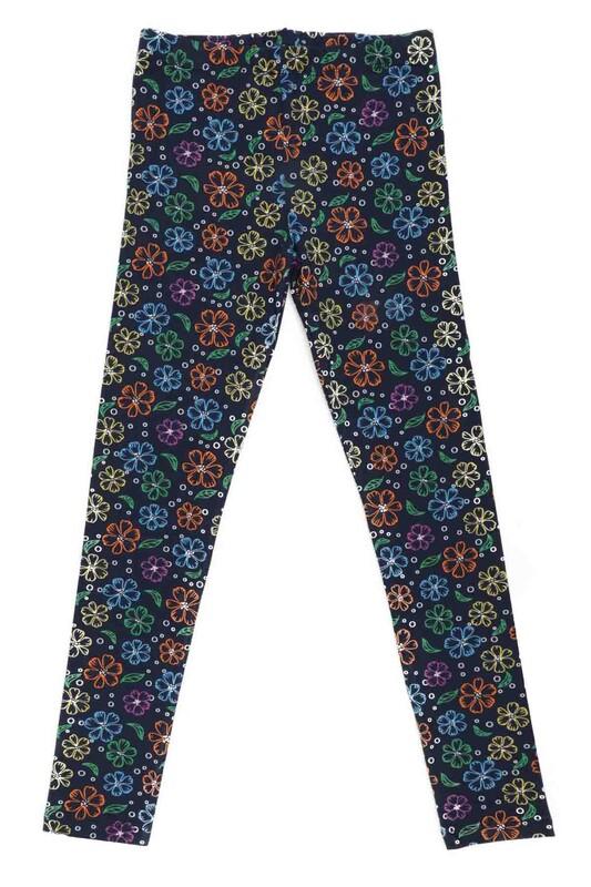 SİMİSSO - Çiçek Desenli Kız Çocuk Tayt 1150   Lacivert