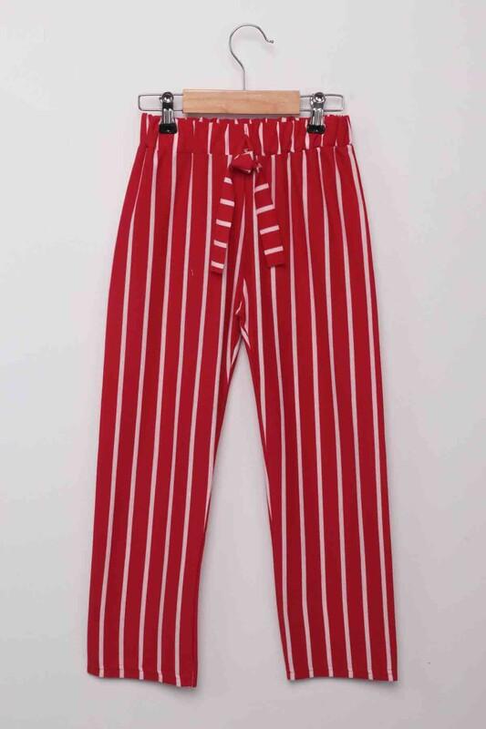 SİMİSSO - Beli Lastikli Çizgili Kız Çocuk Pantolon   Kırmızı