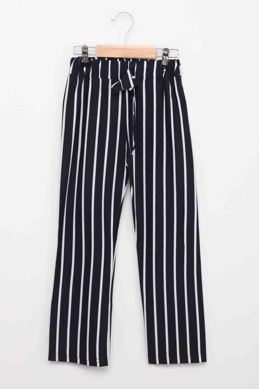 SİMİSSO - Beli Lastikli Çizgili Kız Çocuk Pantolon   Lacivert