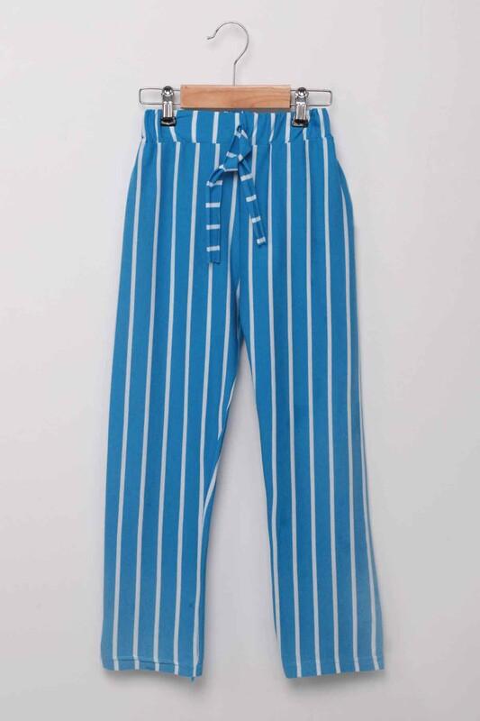 SİMİSSO - Beli Lastikli Çizgili Kız Çocuk Pantolon   Mavi