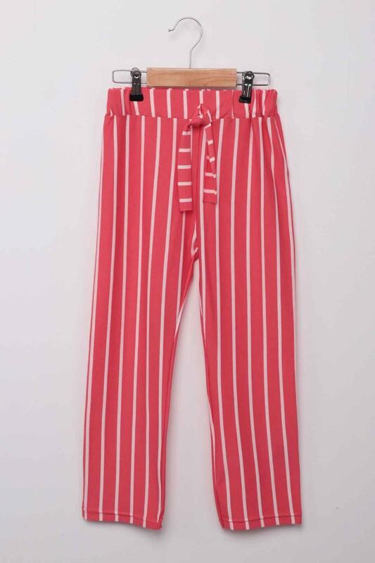 SİMİSSO - Beli Lastikli Çizgili Kız Çocuk Pantolon   Mercan