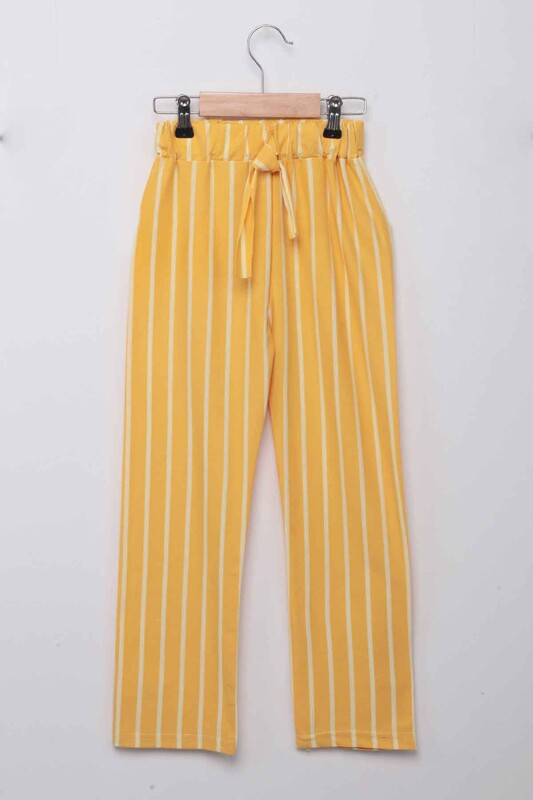 SİMİSSO - Beli Lastikli Çizgili Kız Çocuk Pantolon | Sarı