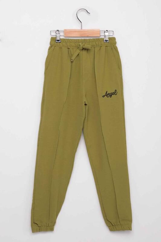 SİMİSSO - Yazı Baskılı Kız Çocuk Pantolon   Çimen Yeşili