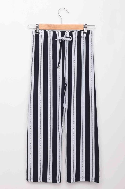 SİMİSSO - Beli Lastikli Geniş Paça Kız Çocuk Pantolon   Lacivert