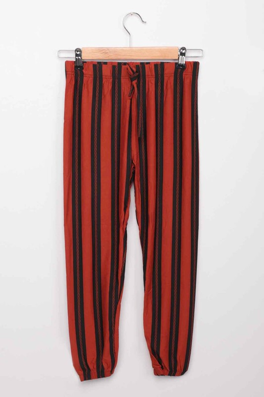SİMİSSO - Paça Lastikli Kız Çocuk Pantolon   Kiremit